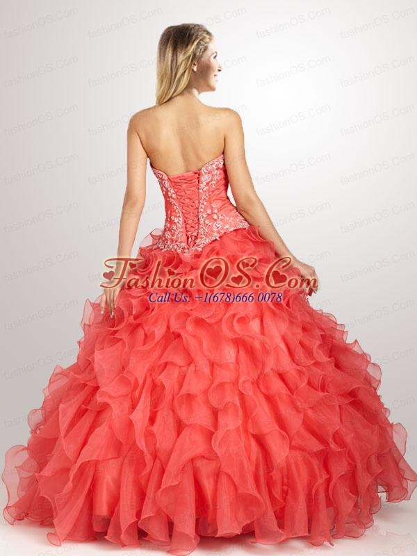 2015 Beautiful Appliques and Ruffles Quinceanera Dresses in Yellow