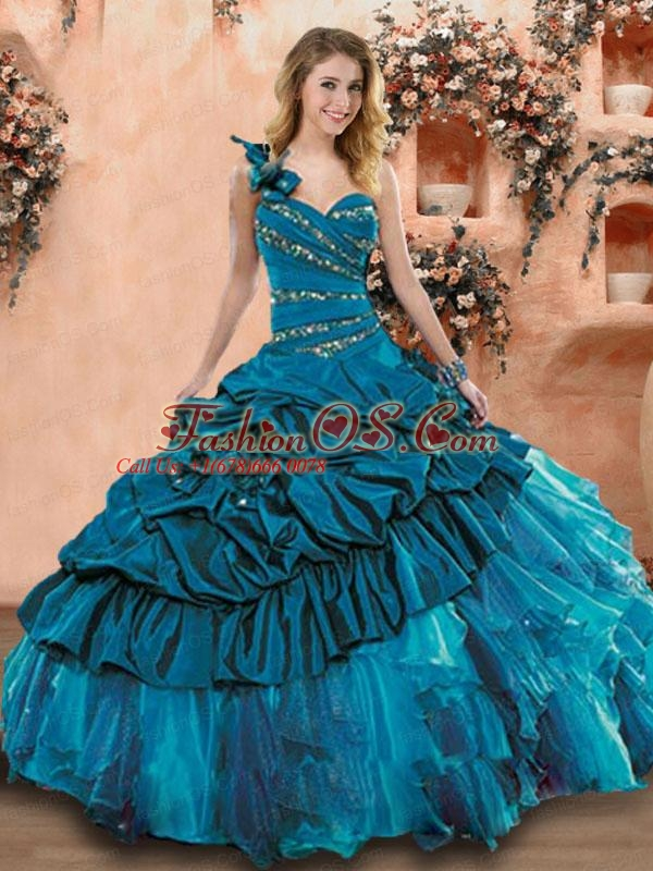 2015 Latest Teal Dress For Quinceanera with Beading and Ruffles