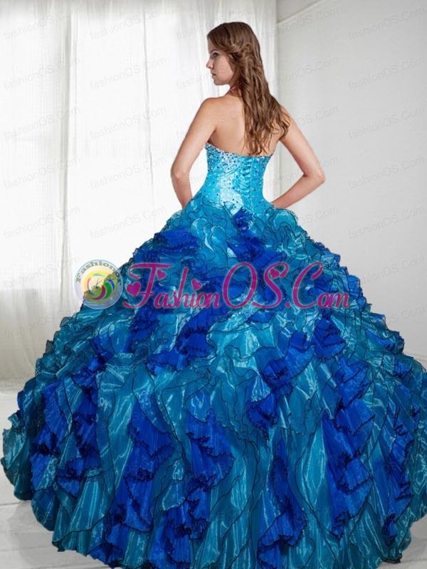 2015 Luxurious Strapless Blue Sweet Sixteen Dresses With Beading and Ruffles