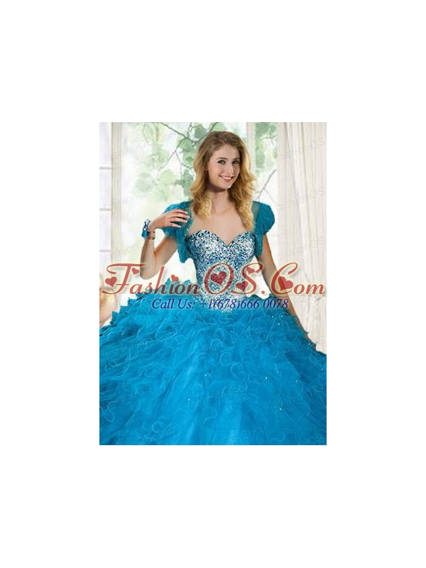 Brand New Blue Organza Quinceanera Jacket with Beading and Ruffles