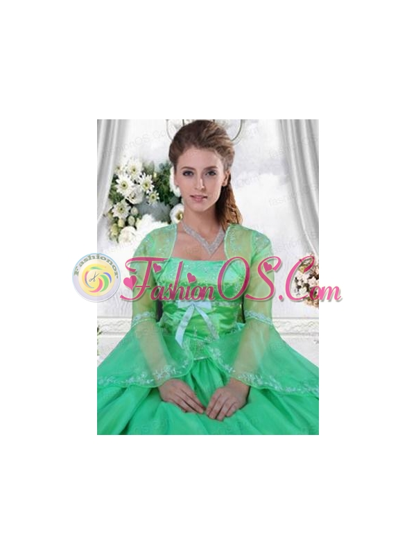 Custom Made Embroidery and Beading Green Long Sleeves Jacket For Quinceanera