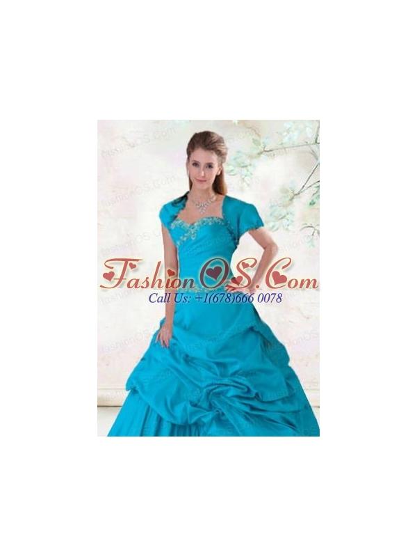 Elegant Beading Blue Taffeta Appliques Quinceanera Jacket