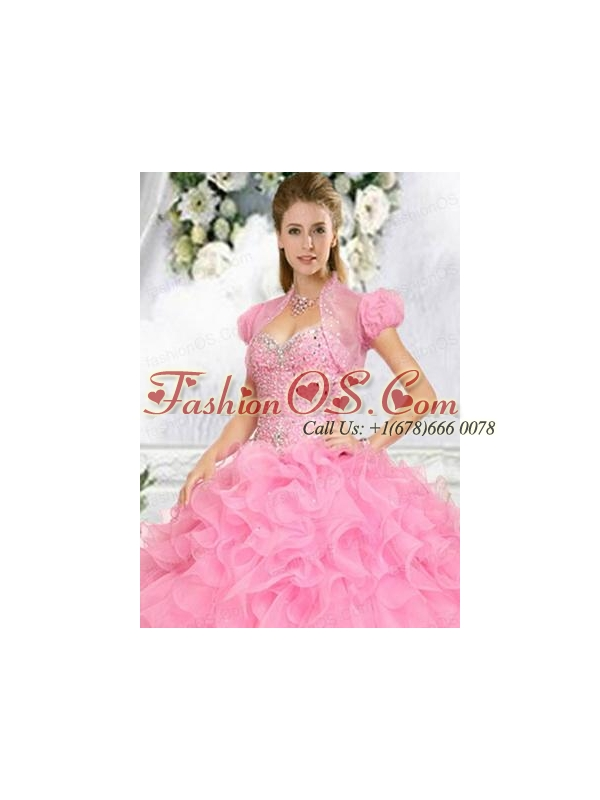 Exquisite Beading and Ruffles Quinceanera Jacket in Pink