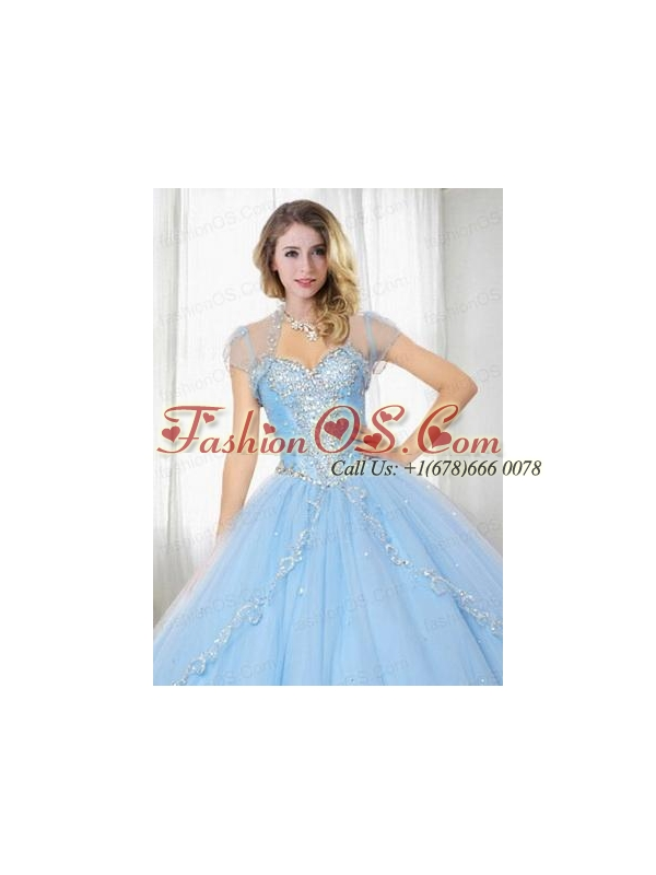 Exquisite Light Blue Tulle Quinceanera Jacket with Embroidery and Beading