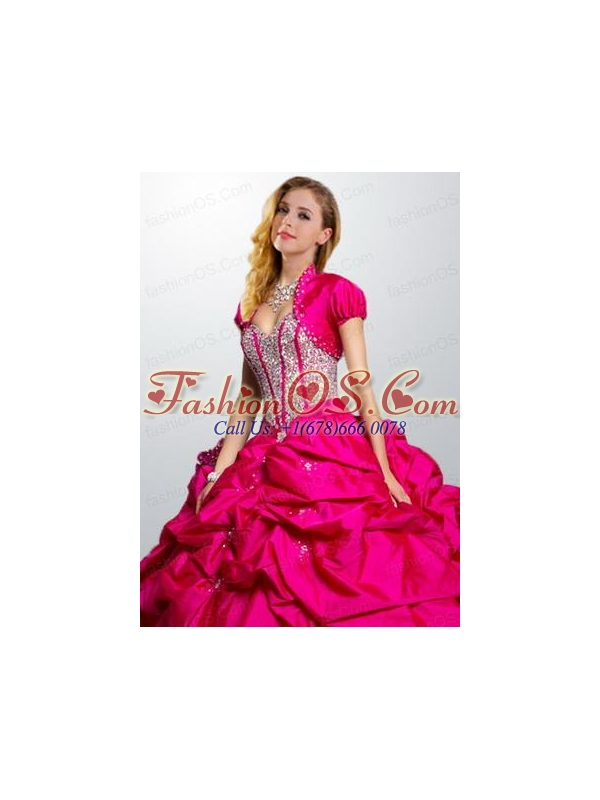 Fashionable Hot Pink Taffeta Special Occasion Quinceanera Jacket with Beading and Ruffles