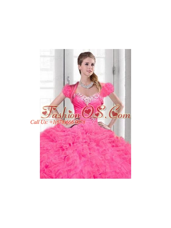 Luxurious Beading and Ruching Organza Quinceanera Jacket with Pink