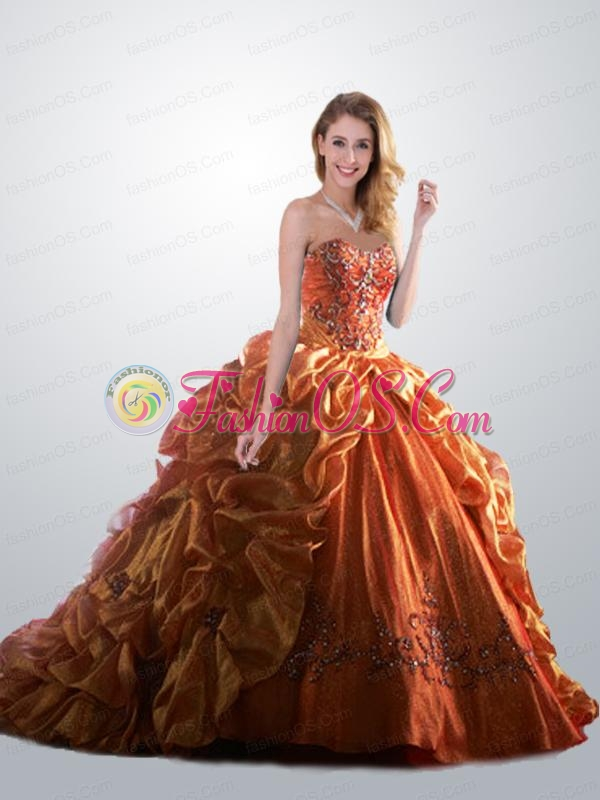 Modern Sweetheart Organza Gold Quinceanera Dress with Beading and Pick-ups