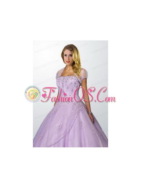 Popular Tulle Appliques and Beading Quinceanera Jacket in Lavender