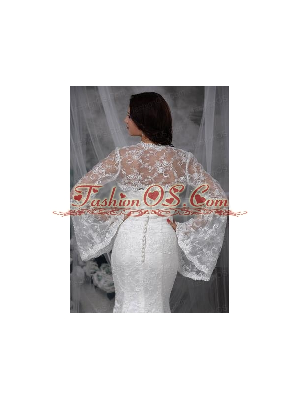 Unique Long Sleeves White Jacket With Lace