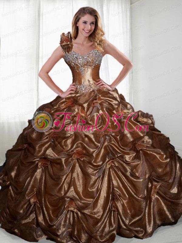 2015 Wonderful  Brown Sweet 16 Dresses with Beading and Pick-ups