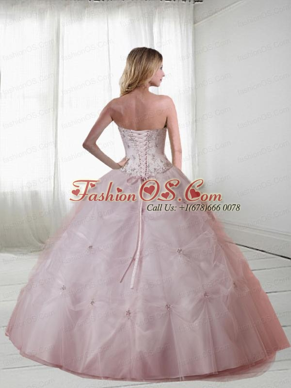 Strapless Red Quinceanera Gown with Beading and Pick-ups