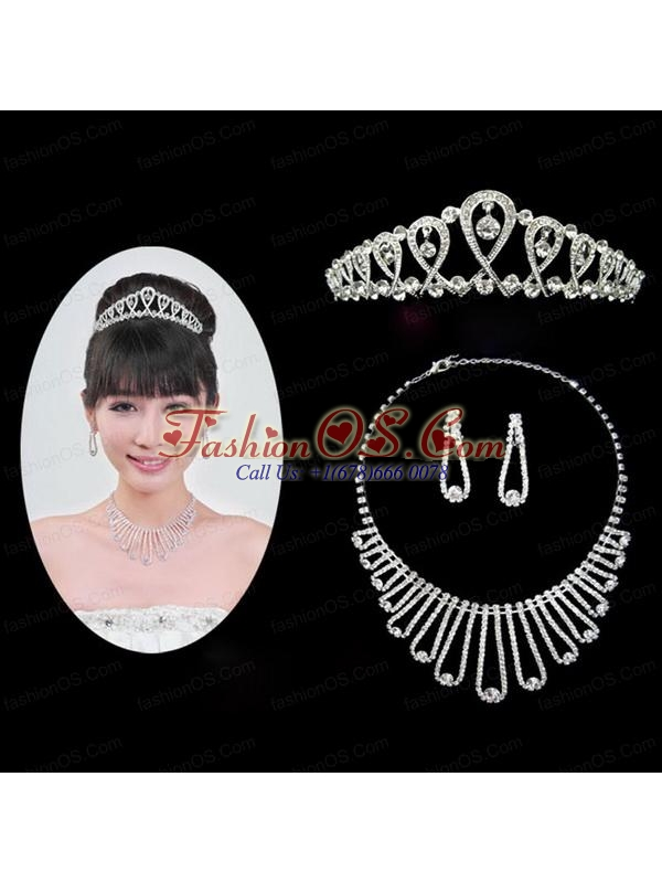 Magnificent Alloy With Rhinestone Ladies' Necklace and Tiara
