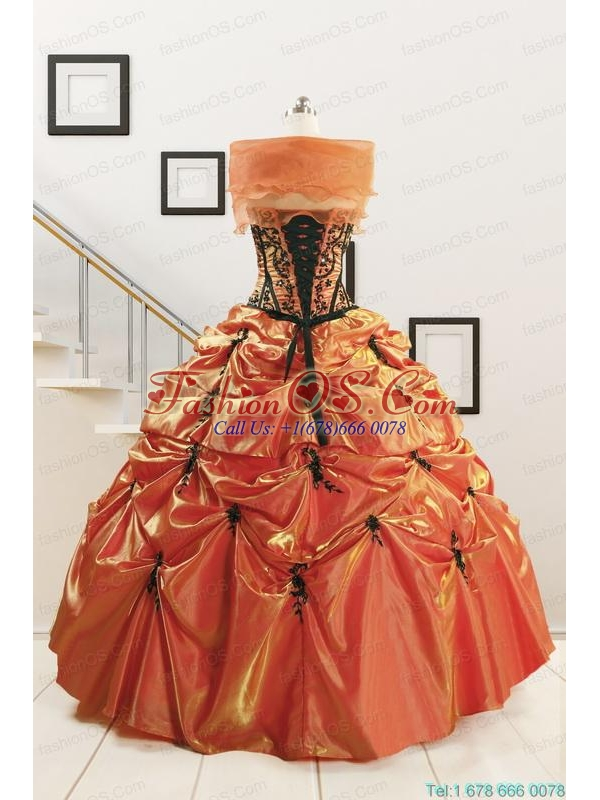 2015 Cheap Appliques Quinceanera Dresses in Orange Red and Black