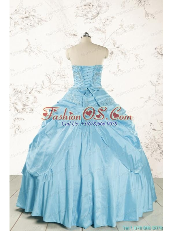 2015 Discount Strapless Appliques Sweet 15 Dress in Aqua Blue