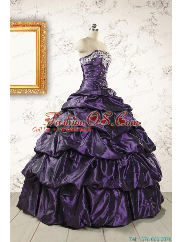 2015 Modern Sweetheart Purple Quinceanera Dresses with Appliques
