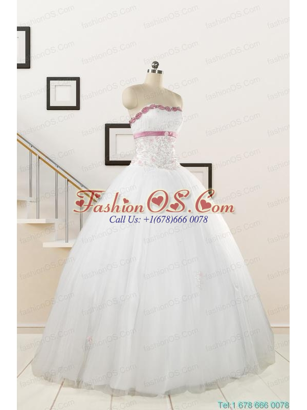 2015 Perfect White Strapless Appliques and Belt Quinceanera Dresses