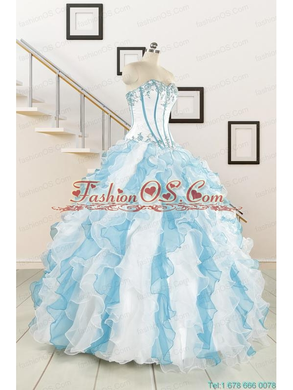 2015 Pretty Appliques and Ruffles Quinceanera Dresses in Multi-color