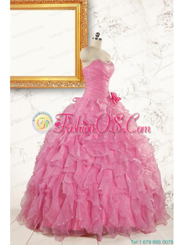 2015 Pretty Sweetheart Beading Baby Pink Quinceanera Dresses