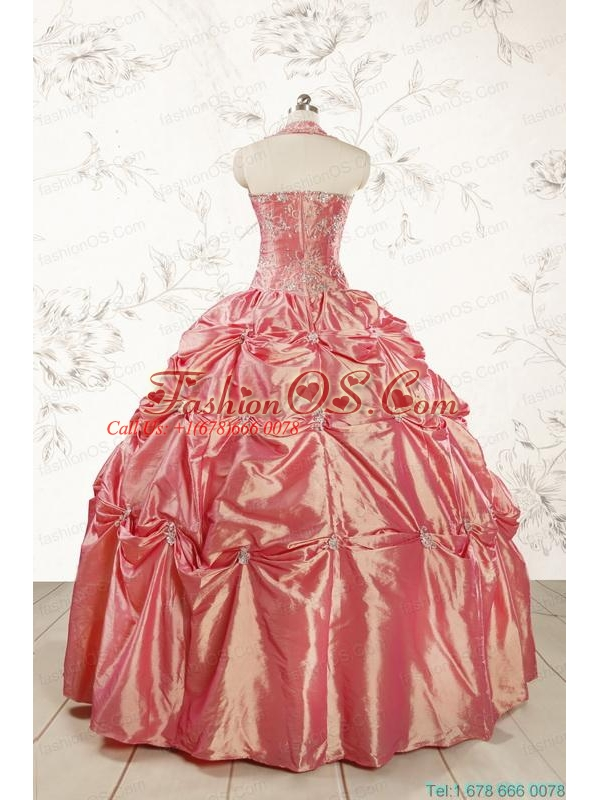 Beautiful Beading and Appliques Watermelon Red Sweet 16 Dresses