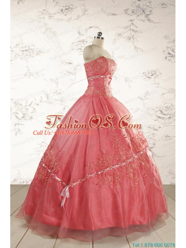 Brand New Appliques Sweet 15 Dresses Watermelon for 2015