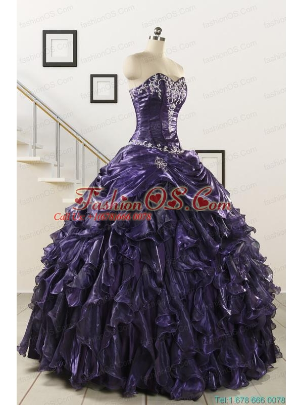 Luxurious 2015 Ball Gown Purple Quinceanera Dresses with Appliques