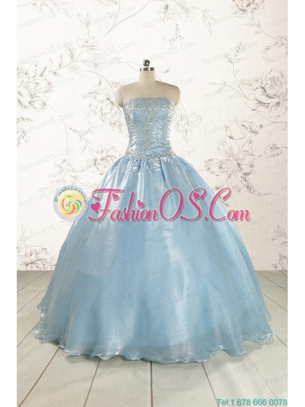 New Style 2015 Strapless Sweet 15 Dresses with Beading