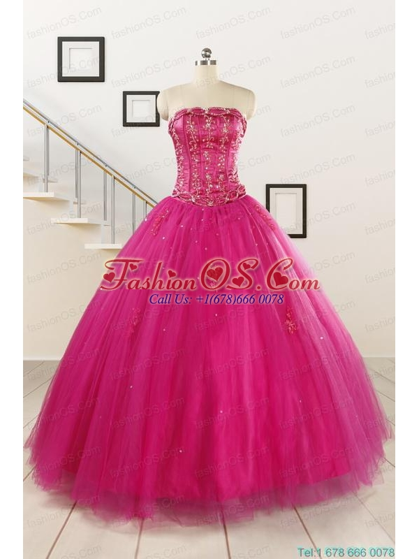 Perfect Fuchsia Quinceanera Dresses with Beading and Appliques for 2015