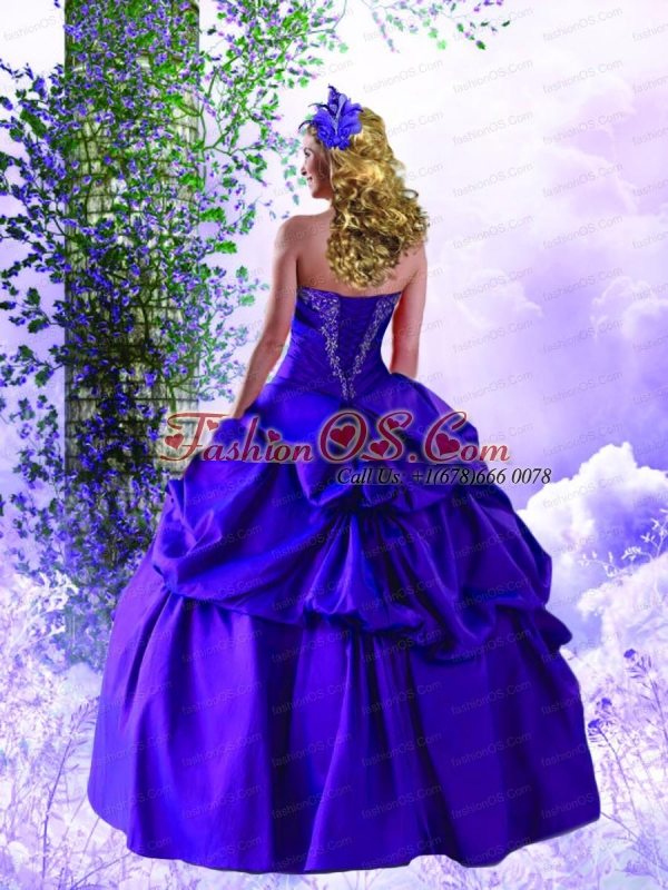 2015 Fashionable Tulle and Taffeta Appliques Purple Quinceanera Dress
