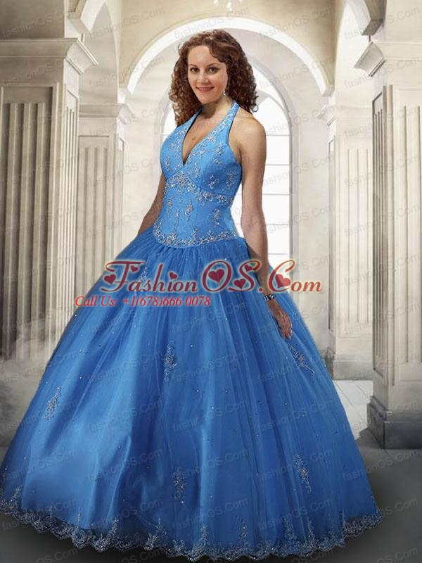 2015 Modest Halter Top Tulle Appliques Quinceanera Dress in Blue