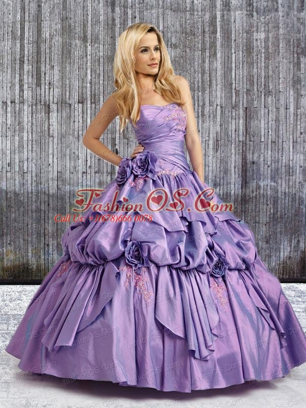 2015 Perfect Strapless Lavender Quinceanera Dresses with Hand Made Flower and Appliques