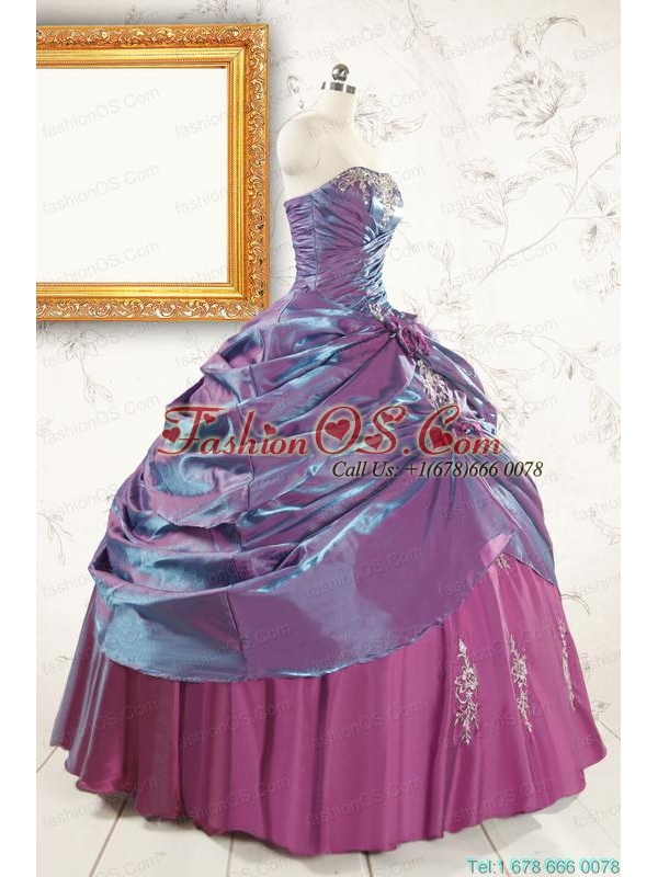 2015 Purple Strapless Quinceanera Dresses with Appliques and Hand Made Flowers