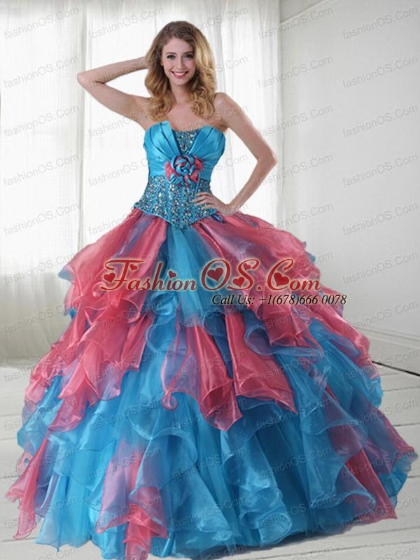 Beautiful Multi-color Strapless Beaded and Ruffled Sweet 15 Dress for 2015