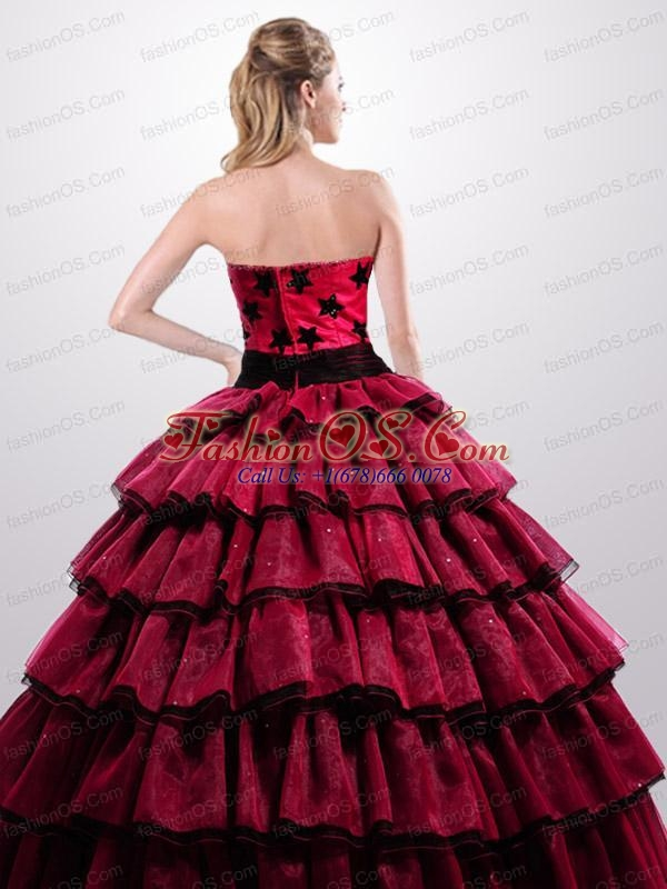 Beautiful Ruffled Layers and Appliques Quinceanera Dress in Red and Black