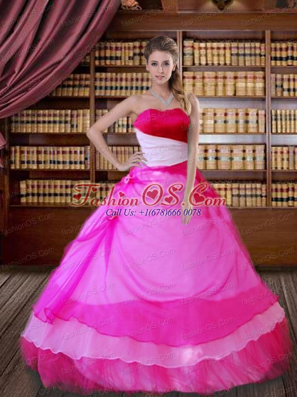 Beautiful Strapless Hot Pink Organza Quinceanera Dress with Hand Made Flower