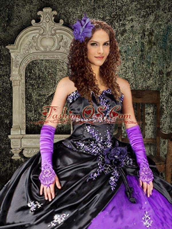 Brand New Purple and Black Strapless Appliques Quinceanera Dress For 2015