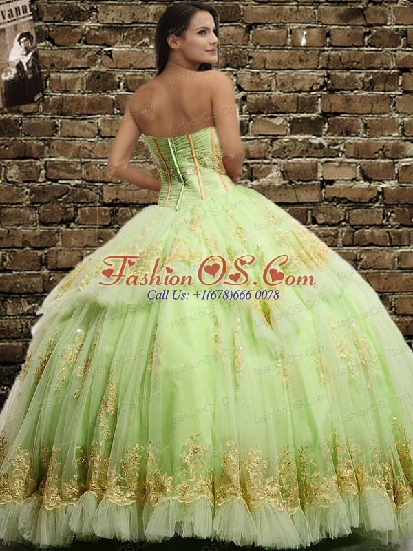 Classical Tulle Ruching and Appliques Quinceanera Dress in Yellow Green