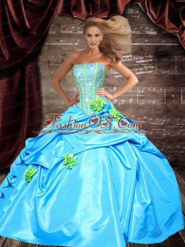 Inexpensive Strapless Beading and Flowers Aqua Blue Quincenera Dresses