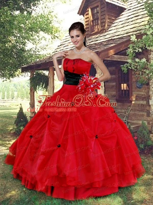 Latest Red Strapless Organza Quinceanera Dress For 2015