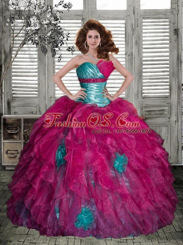 Luxirious Strapless Multi-color Quinceanera Dress with Ruffles and Ruching