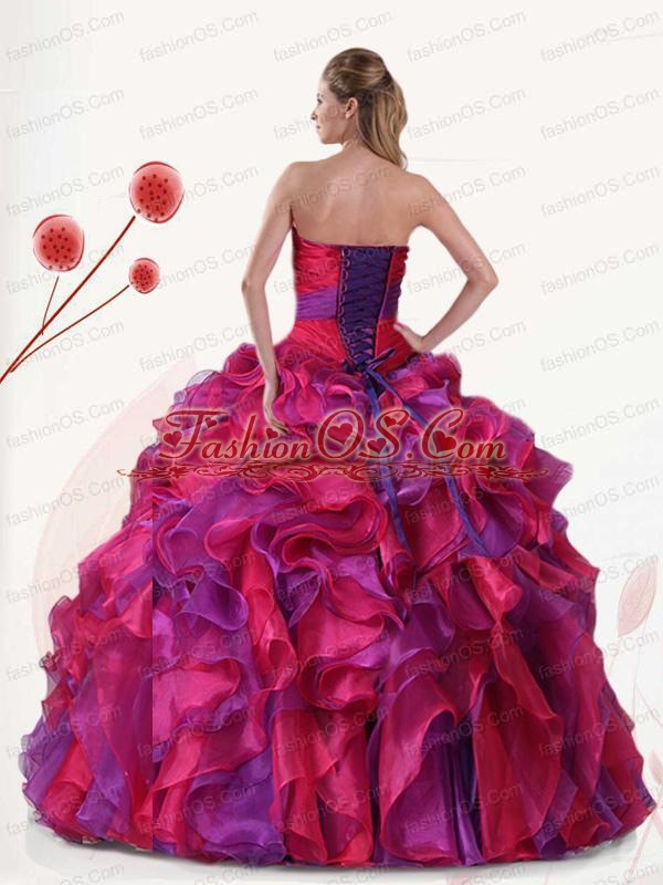 Multi-color Strapless Organza Quinceanera Dresses with Ruffles and Appliques