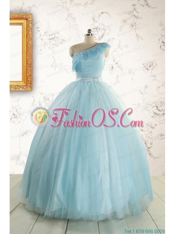 Romantic One Shoulder Light Blue Quinceanera Dress for 2015