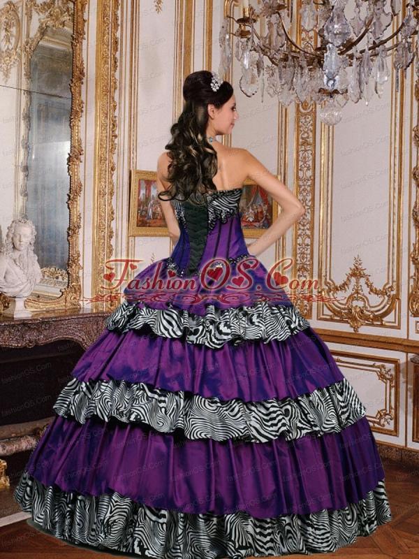 Ruffled Layers Taffeta and Zebra Sweetheart Quinceanera Dress in Purple