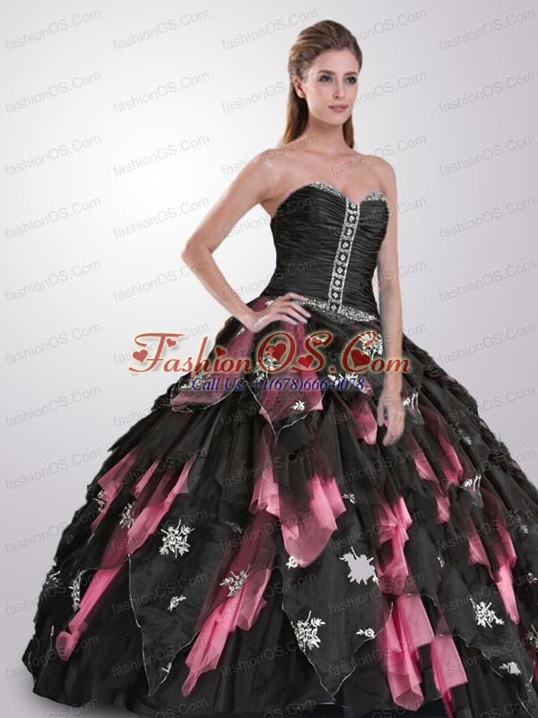 Strapless Ruffles and Appliques Quinceanera Dresses in Black and Pink for 2015