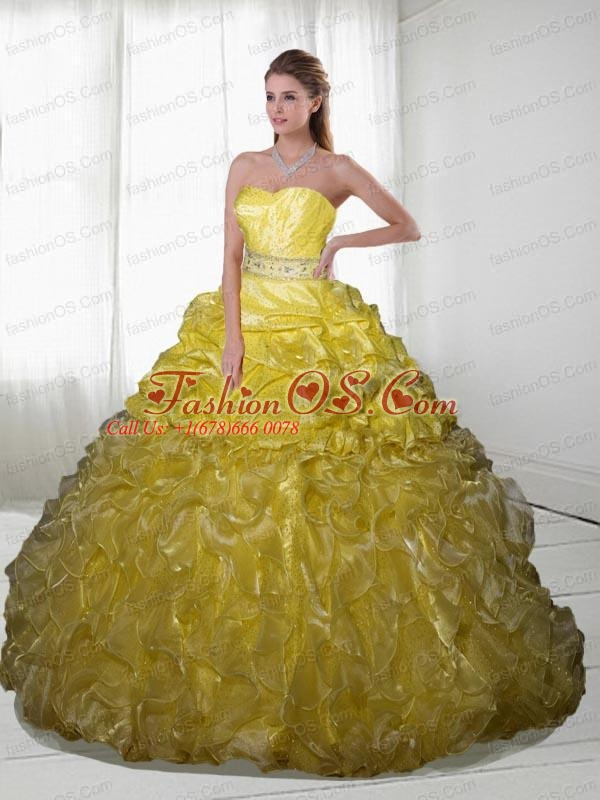 2015 Brand New Ruffles and Beading Yellow Dress for Quinceanera