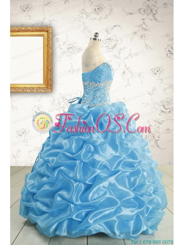 2015 Elegant Strapless Beading Quinceanera Dresses in Baby Blue