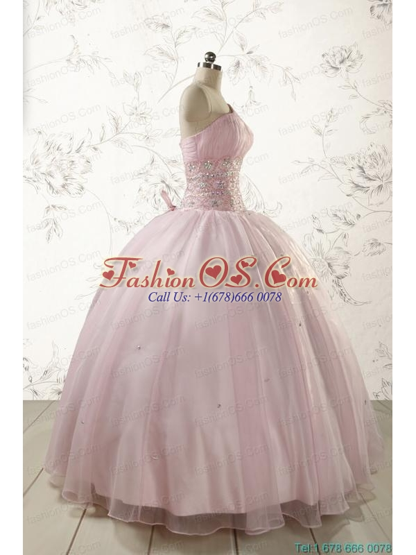 2015 One Shoulder Beading Light Pink Quinceanera Dresses