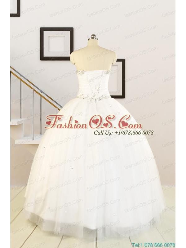 2015 White Elegant Quinceanera Dresses with Beading