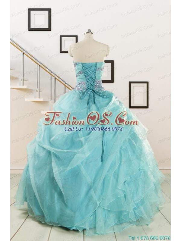 Beading and Ruffles Pretty Quinceanera Dresses in Turquoise for 2015