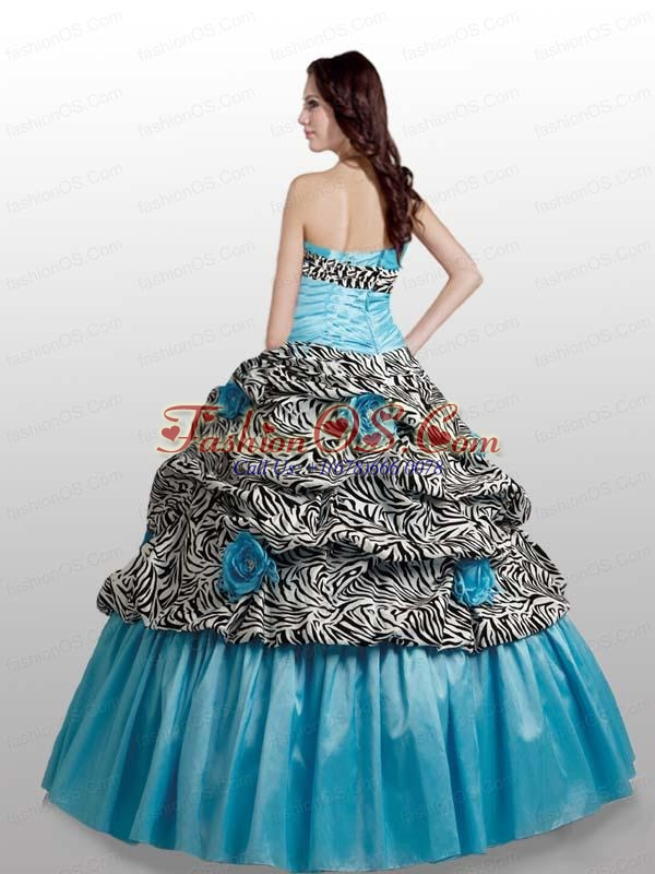 Brand New Hand Made Flowers Sweetheart Quinceanera Dress with Zebra