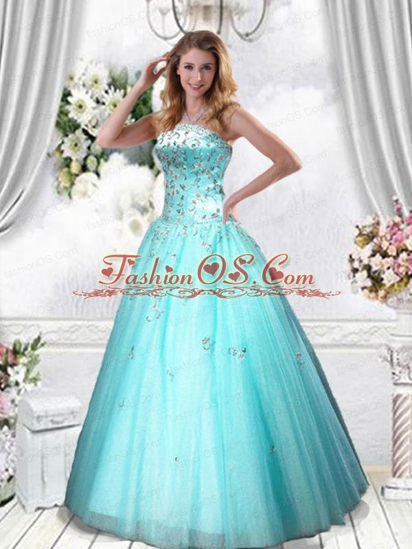 Elegant Strapless Turquoise Quinceanera Dress with Beading and Embroidery